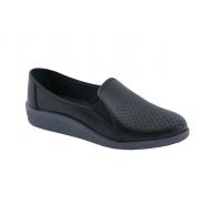 Туфли женские кожаные с перфорацией черные