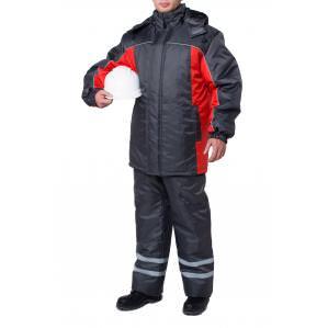 Куртка утепленная ЭКСТРА, цв.серый-красный
