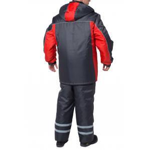 Куртка утепленная ЭКСТРА, цв.серый-красный - 1